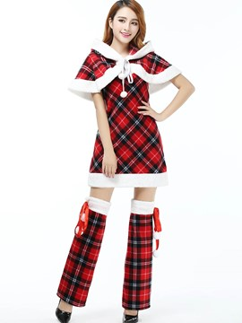 Ericdress Plaid Cape Santa Cosplay Christmas Costume