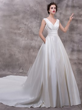 Ericdress Court V-Neck Floor-Length A-Line Garden/Outdoor Wedding Dress