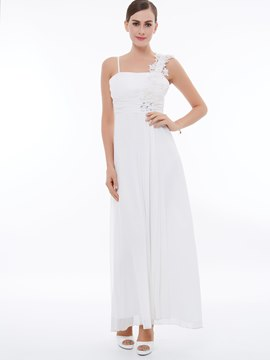 Ericdress One-Shoulder Flower Chiffon A-Linie Kleid