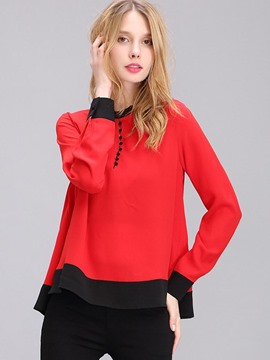 Ericdress Loose Color Block Chiffon Blouse