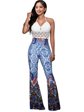 Ericdress Lace Patchwork Print Jumpsuits Pants