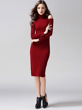 Ericdress Plain Cold Shoulder Turtleneck Sweater Dress