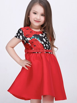 Ericdress Floral Printed Pleated Belt Girls Dress