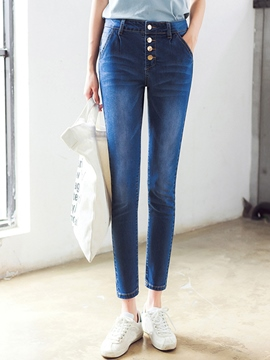 Ericdress Worn Single-Breasted Jeans