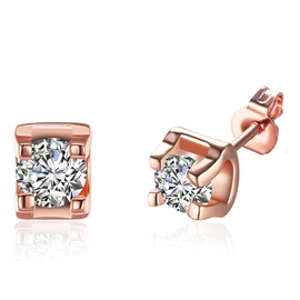Ericdress Rose Gold Geometric Zircon Earrings