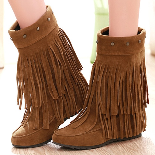 Ericdress Suede Fringe Flat Boots