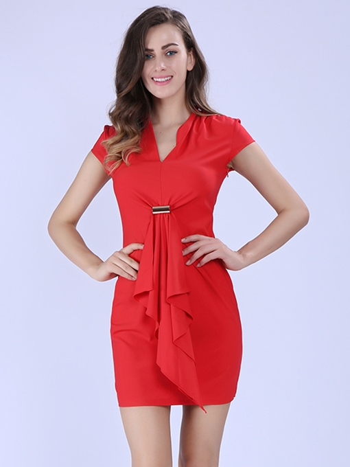 Ericdress Bodycon Pleated Plain Short Sleeve Regular Dress