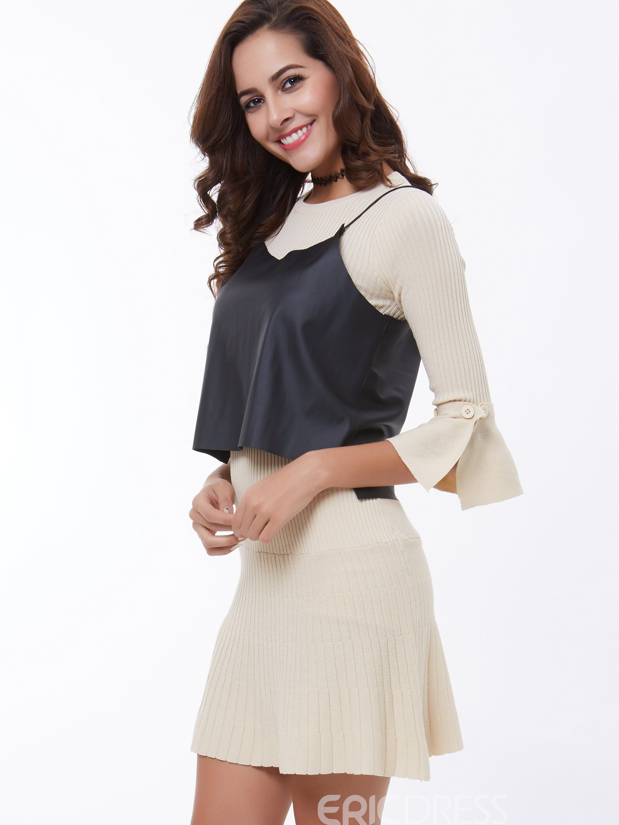 Ericdress Sweet Simple Knitwear Dress Suit