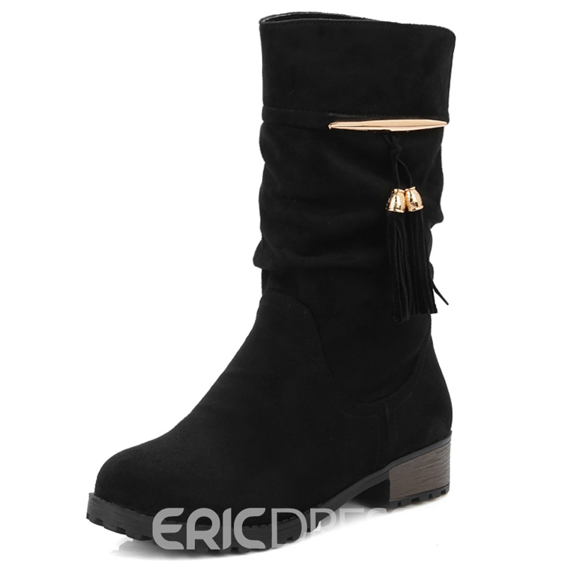 Ericdress Lovely Girl Suede Tassels Flat Boots