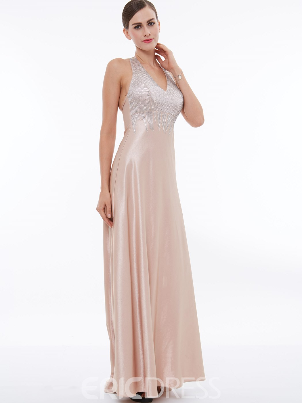 Ericdress A Line Halter Zipper Up Sweep Train Long Evening Dress