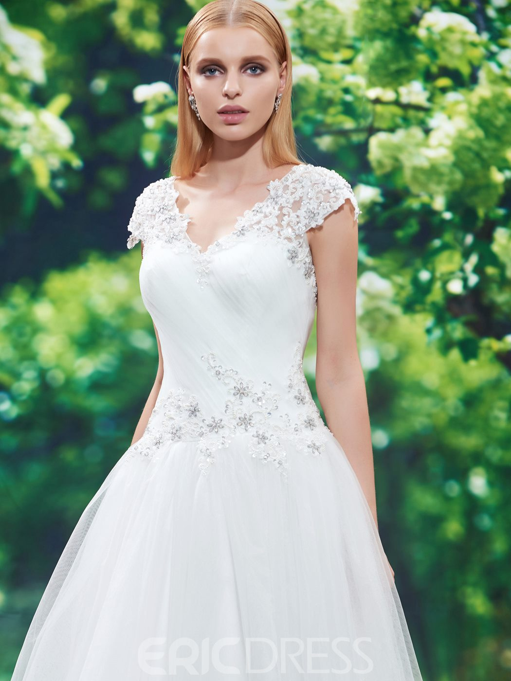 Ericdress Beautiful V Neck Cap Sleeves Appliques A Line Wedding Dress