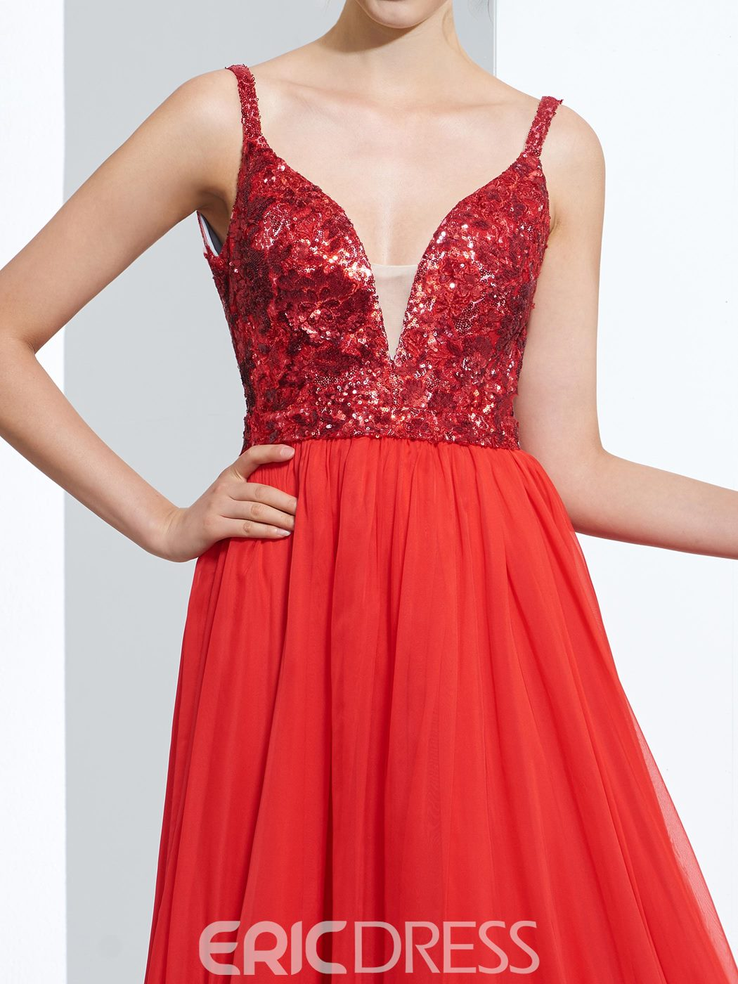 Ericdress A-Line Spathetti Straps Sequins Floor-Length Prom Dress