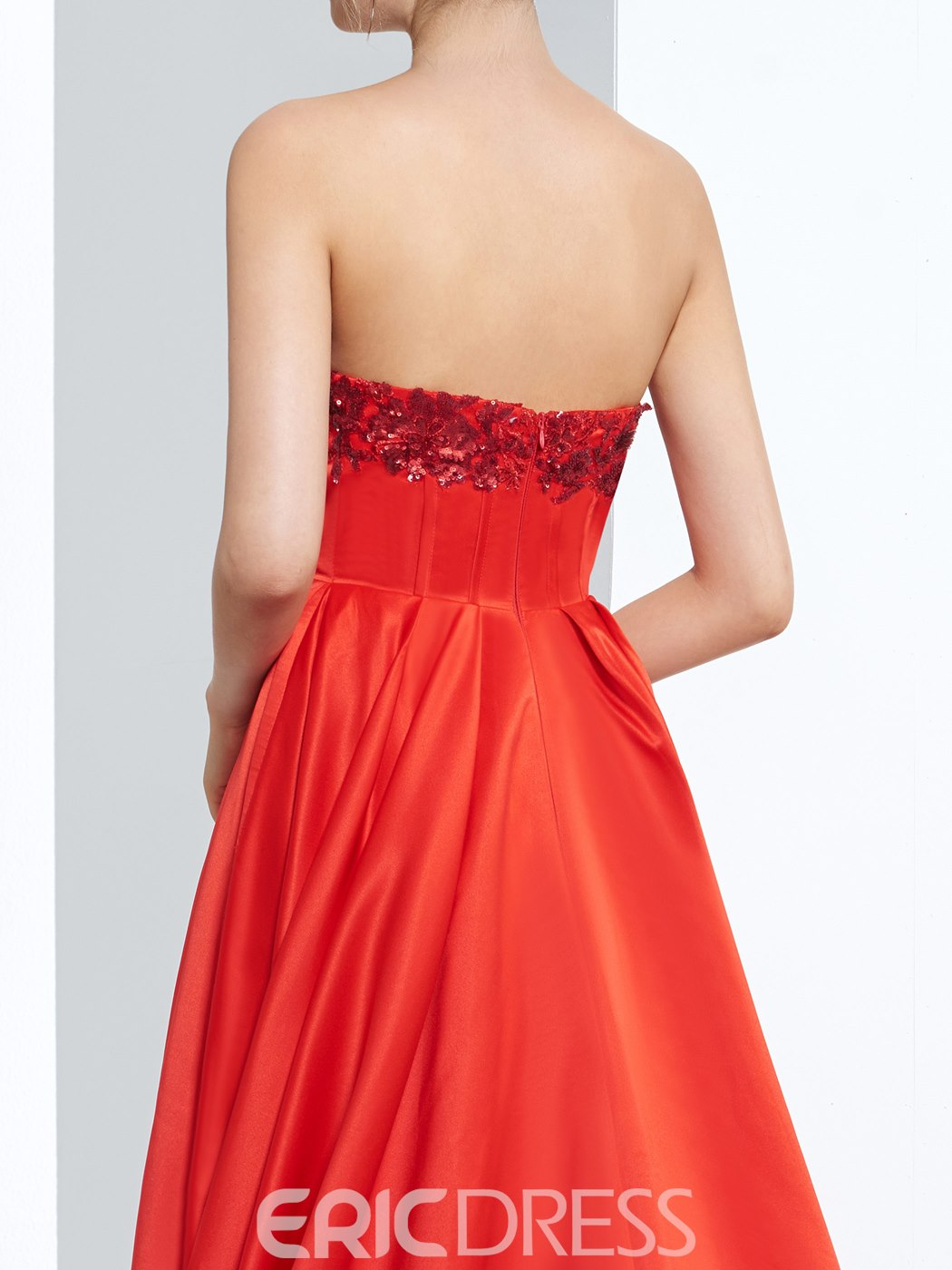 Ericdress A-Line Sweetheart Asymmetry Prom Dress With Appliques And Sequins
