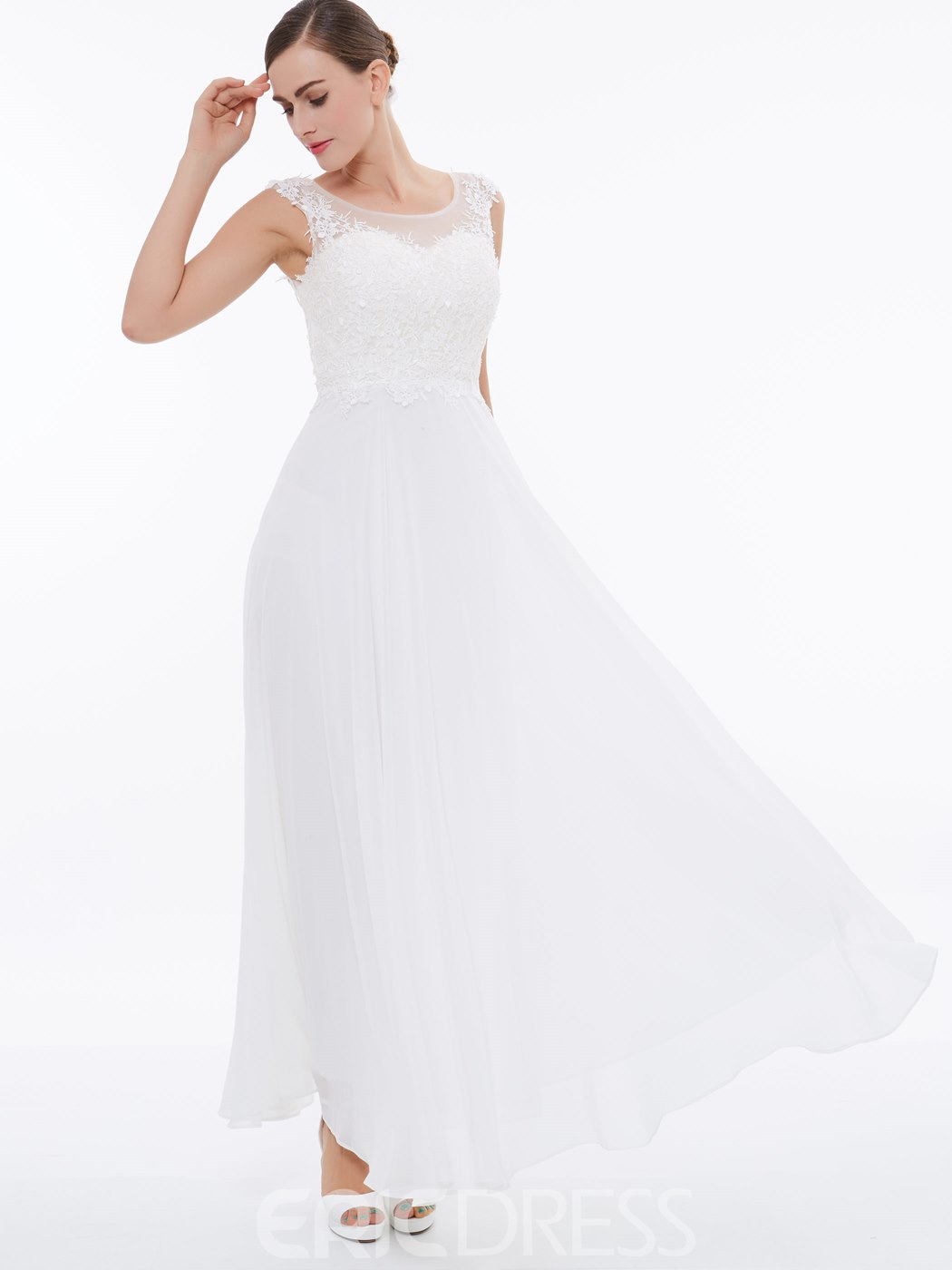 Ericdress A Line Cap Sleeve Applique Chiffon Long Prom Dress