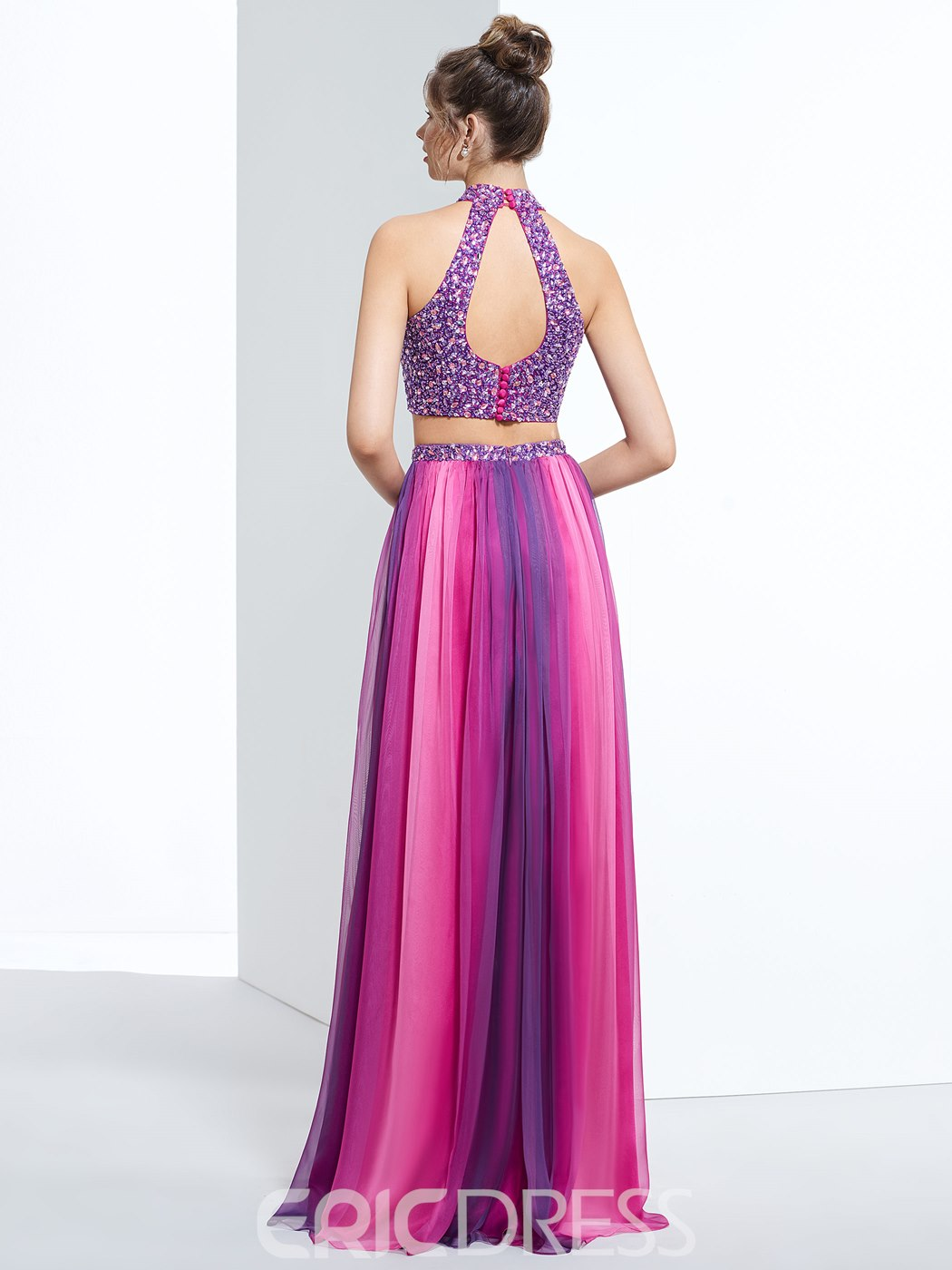 Ericdress Two Pieces A-Line Halter Split-Front Prom Dress With Beading And Sequins