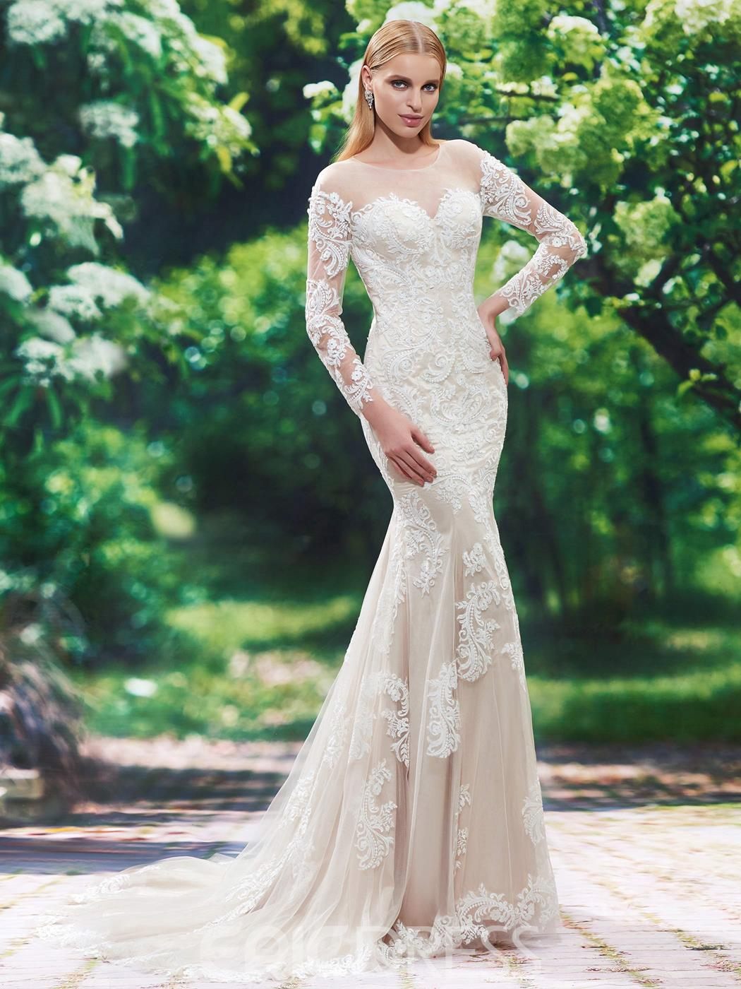 Ericdress Beautiful Illusion Neckline Long Sleeves Mermaid Wedding Dress
