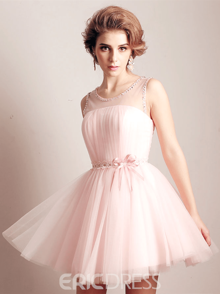 Ericdress A-Line Scoop Beading Lace Sashes Short Homecoming Dress
