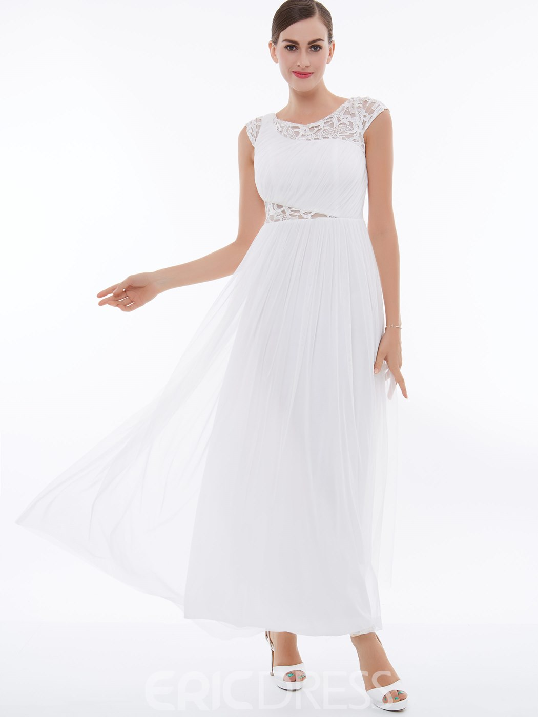 Ericdress Cap Sleeve A Line Chiffon Pleats Prom Dress