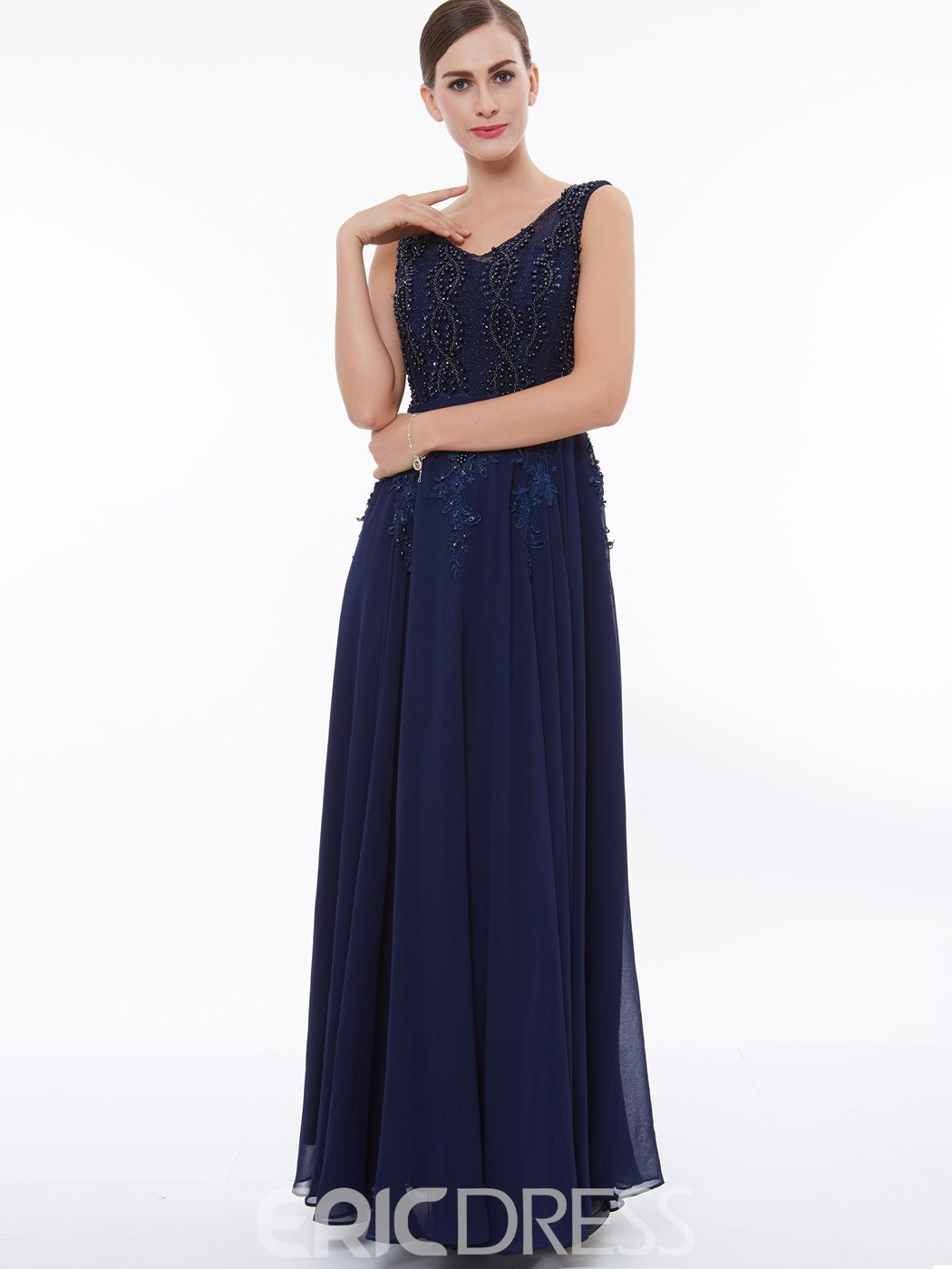 Ericdress Delicate Beaded Chiffon A Line Long Evening Dress