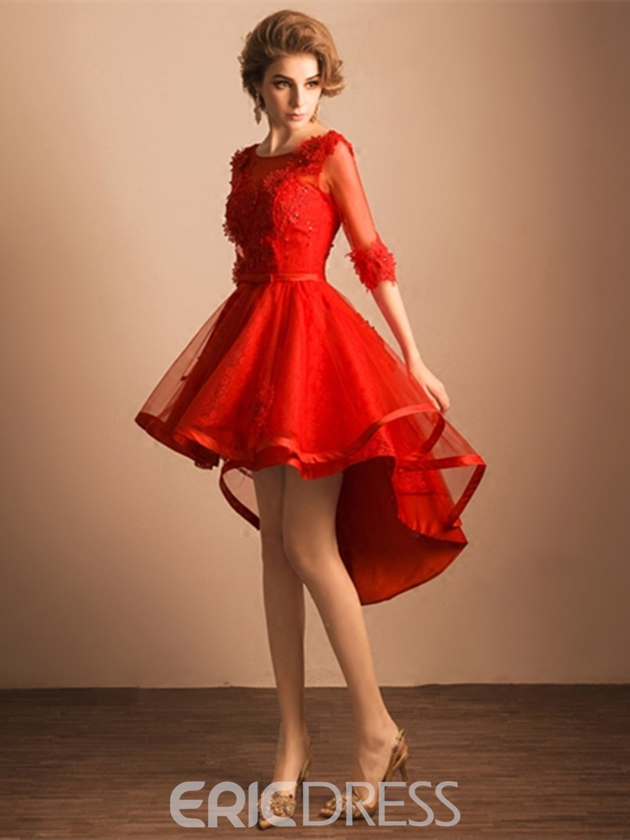 Ericdress A-Line Scoop Half Sleeves Beading Lace Asymmetry Homecoming Dress