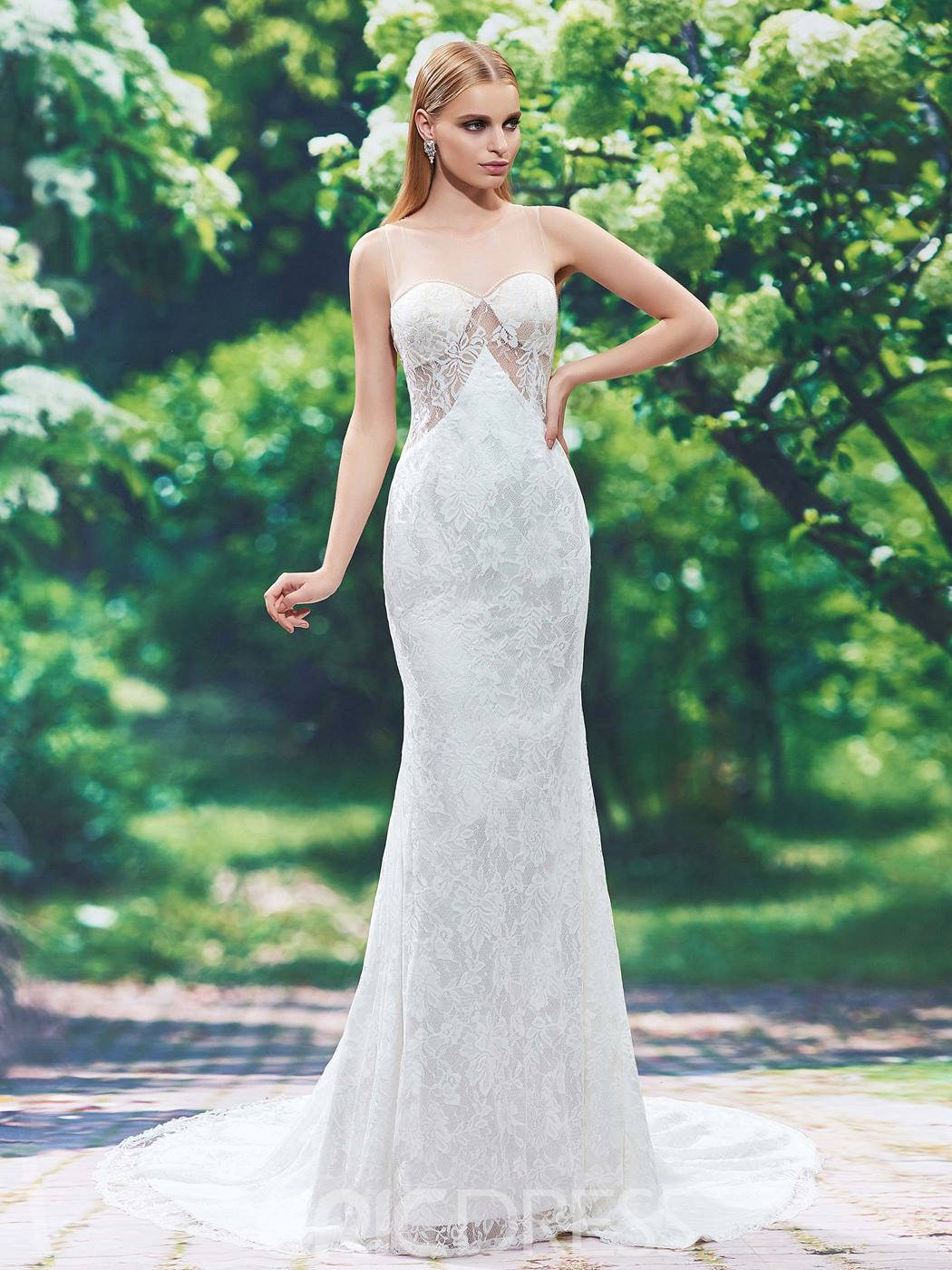 Ericdress Charming Jewel Beaded Lace Mermaid Wedding Dress