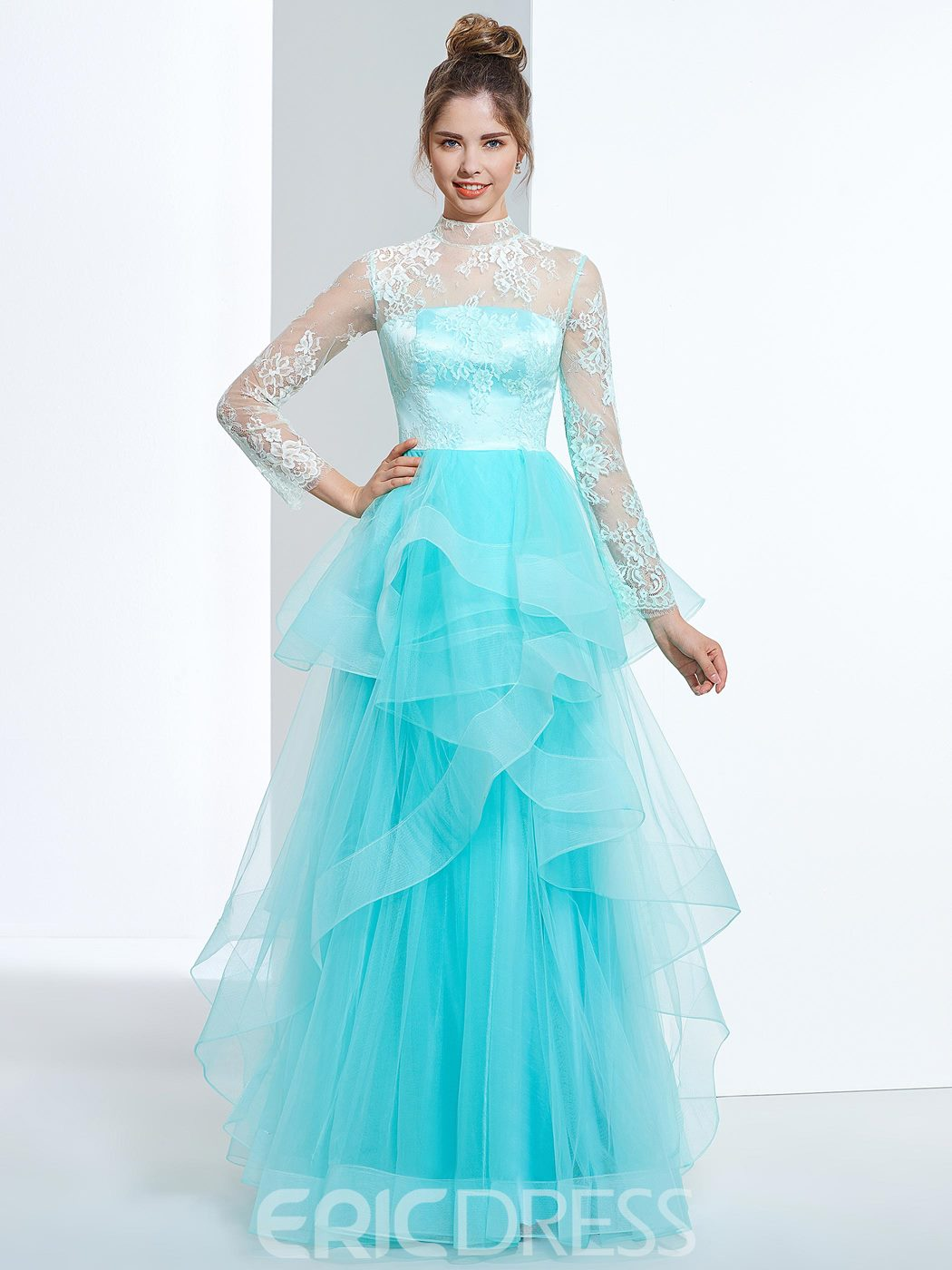 Ericdress A-Line High Neck Long Sleeves Button Lace Tiered Floor-Length Prom Dress