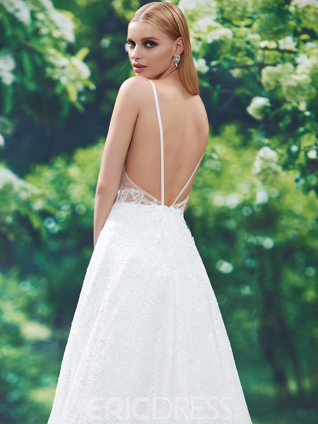 Ericdress Charming Spaghetti Straps Backless A Line Lace Wedding Dress