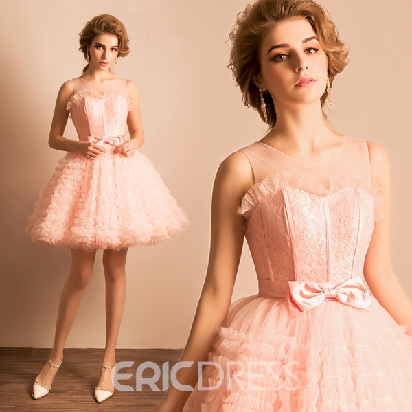 Ericdress A-Line Scoop Lace Mini Lace-Up Homecoming Dress