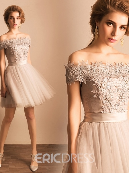 Ericdress A-Line Off-the-Shoulder Short Homecoming Dress With Crystal Pearls