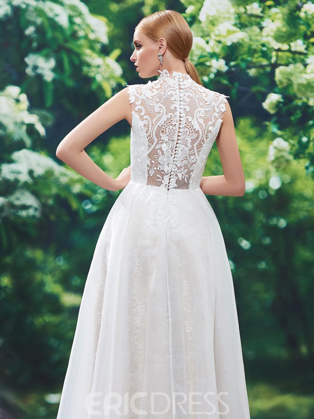 Ericdress High Neck Button Lace Wedding Dress