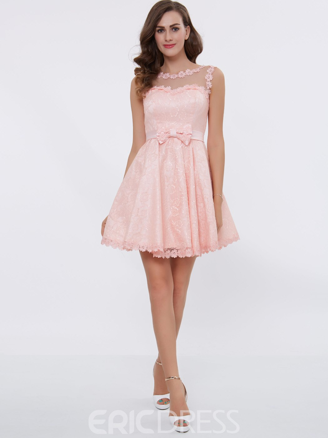 Ericdress Sweet A Line Lace Bowknot Short/Mini Little Party Dress