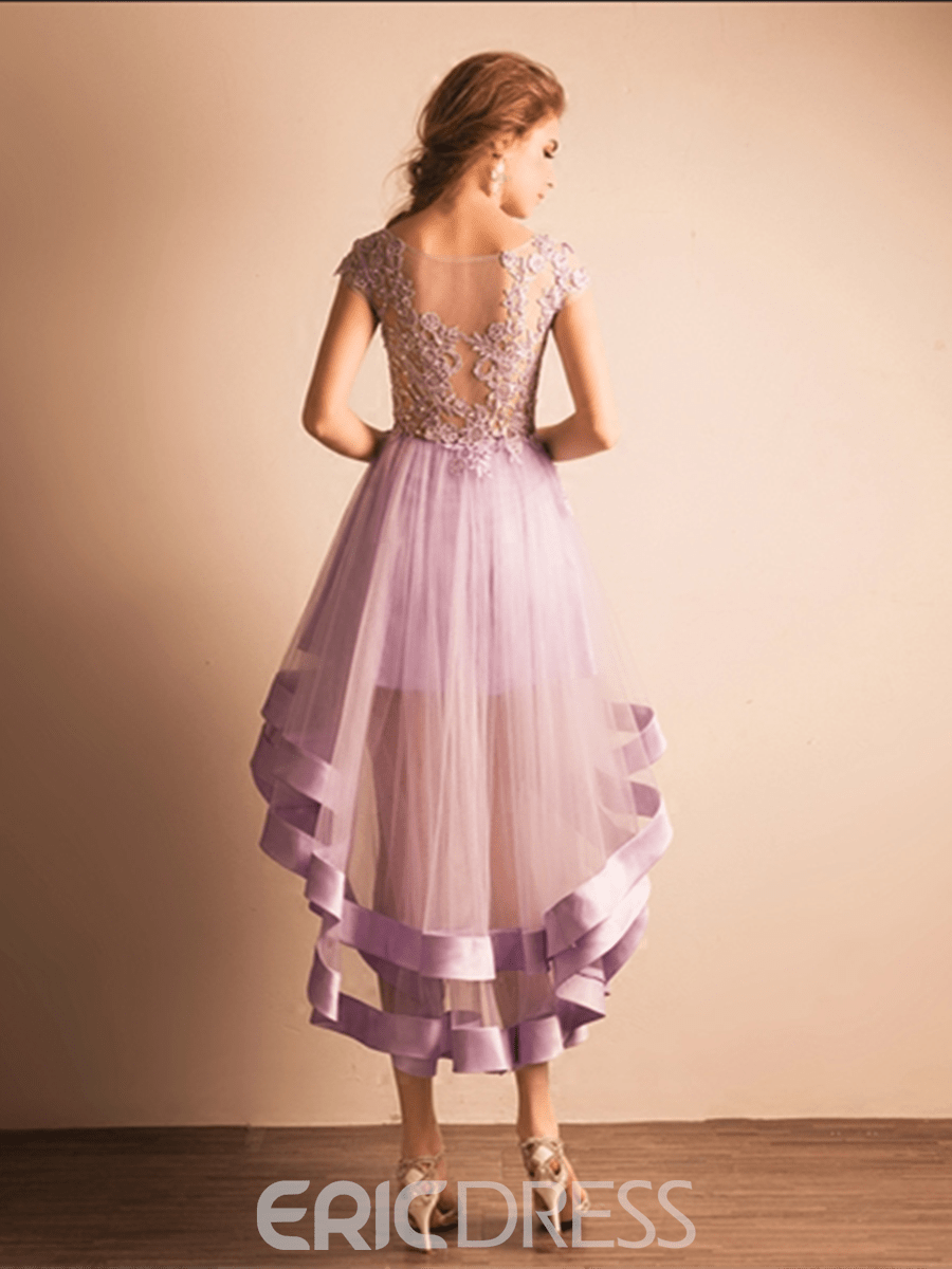 Ericdress A-Line Scoop Cap Sleeves Lace Asymmetry Homecoming Dress