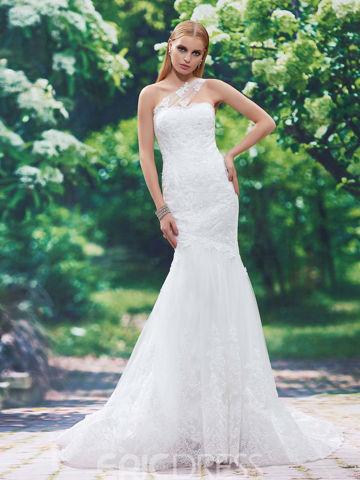 Ericdress Beautiful Appliques One Shoulder Mermaid Wedding Dress