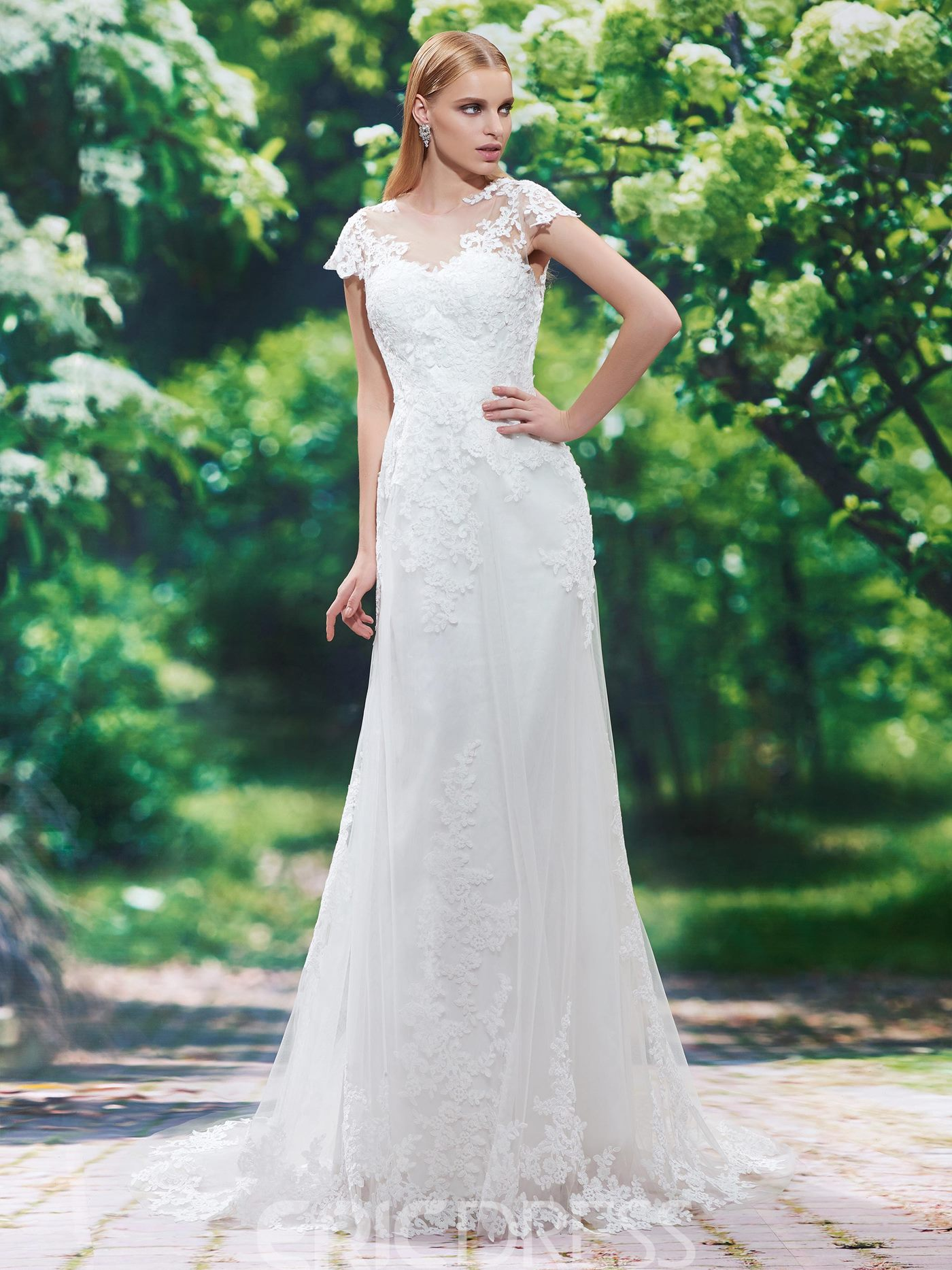Ericdress Beautiful Jewel Cap Sleeves Appliques Sheath Wedding Dress