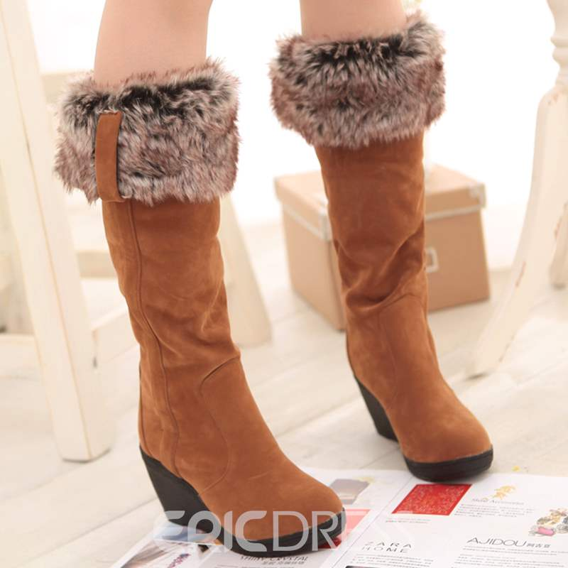 Ericdress Warm Furry Wedge Heel Knee High Boots
