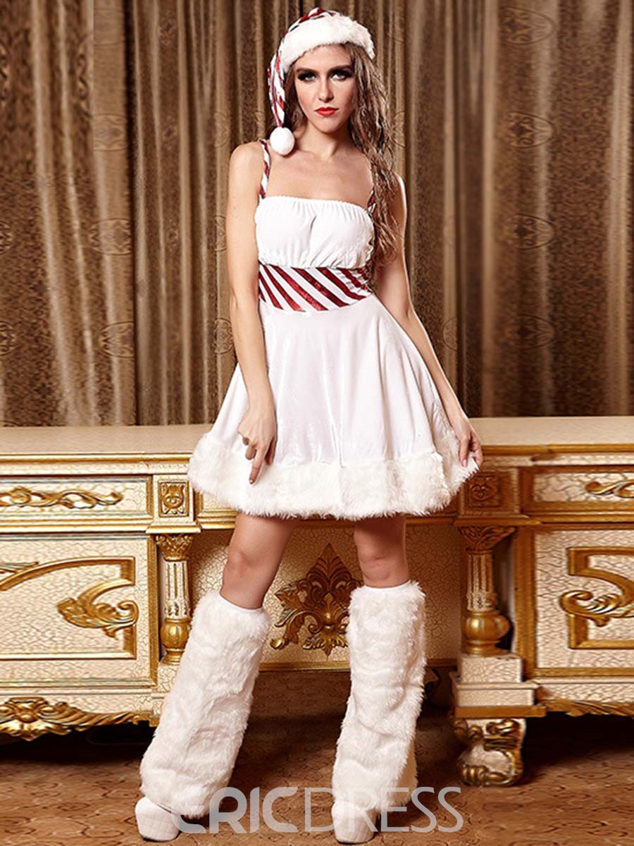 Ericdress Stripe Patchwork Santa Cosplay Christmas Costume