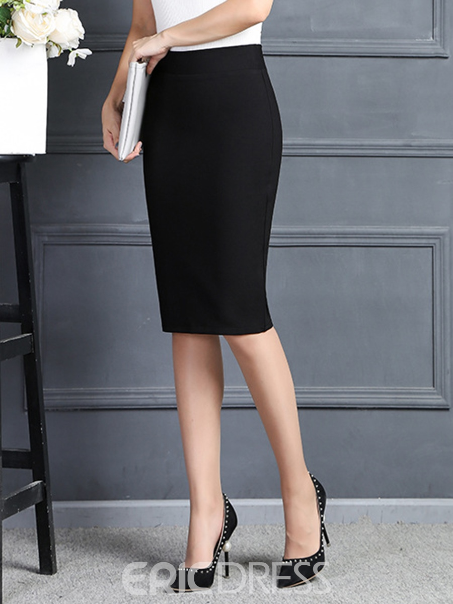 Ericdress Simple Solid Color Column Skirt