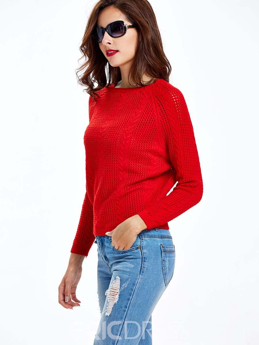 Ericdress Solid Color Hollow Batwing Loose Knitwear