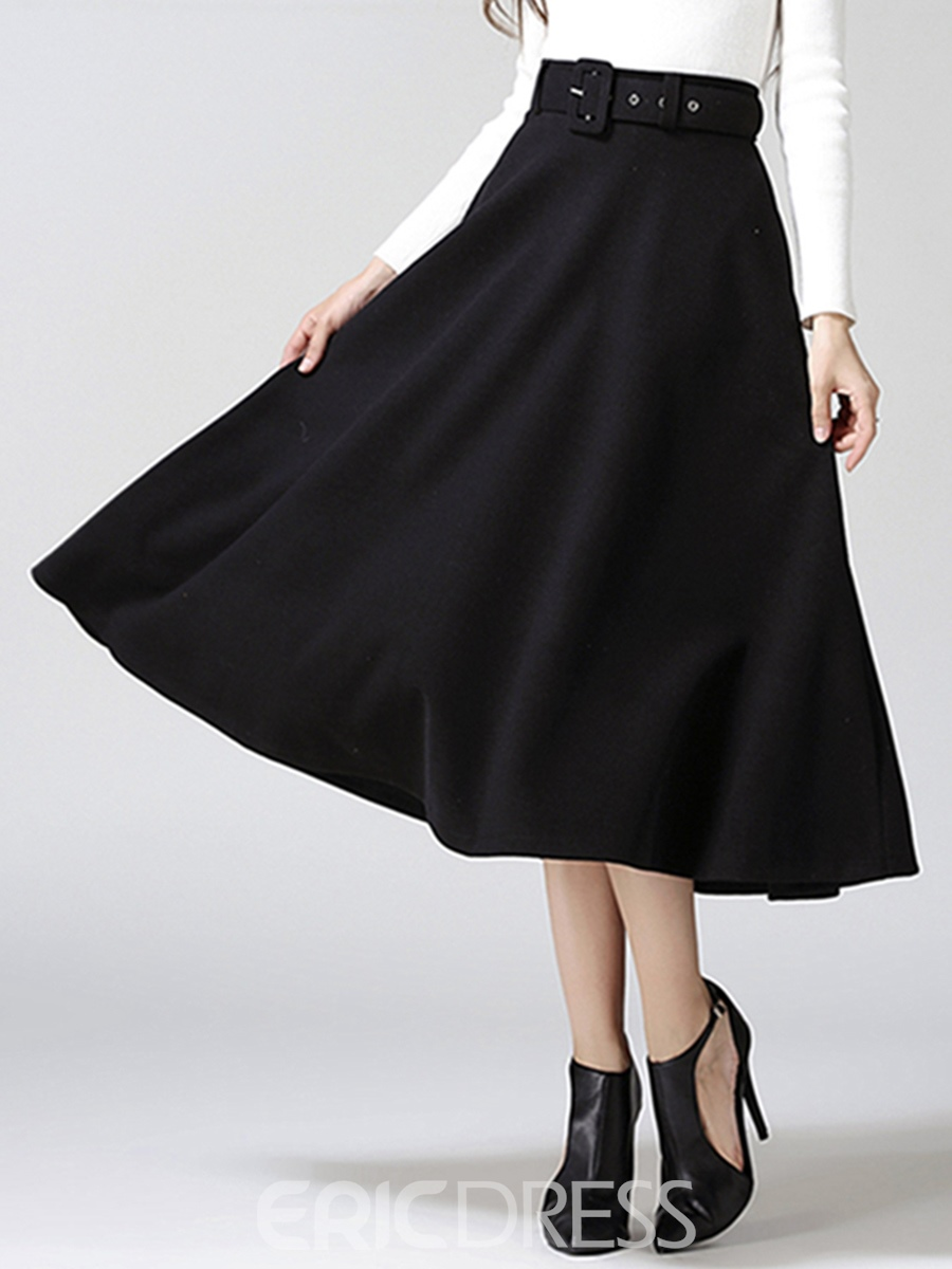 Ericdress Vintage Simple Belt Skirt