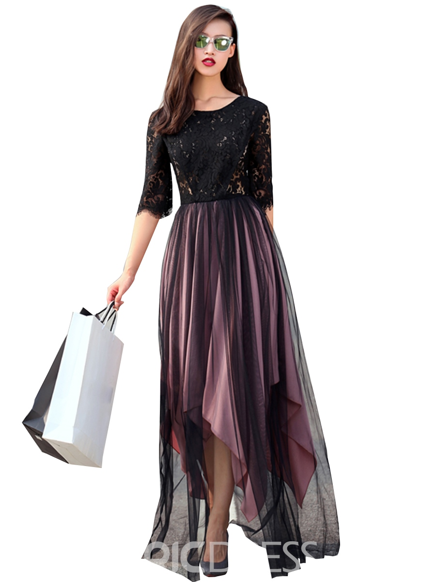 Ericdress Lace Patchwork Asymmetric Hollow Maxi Dress