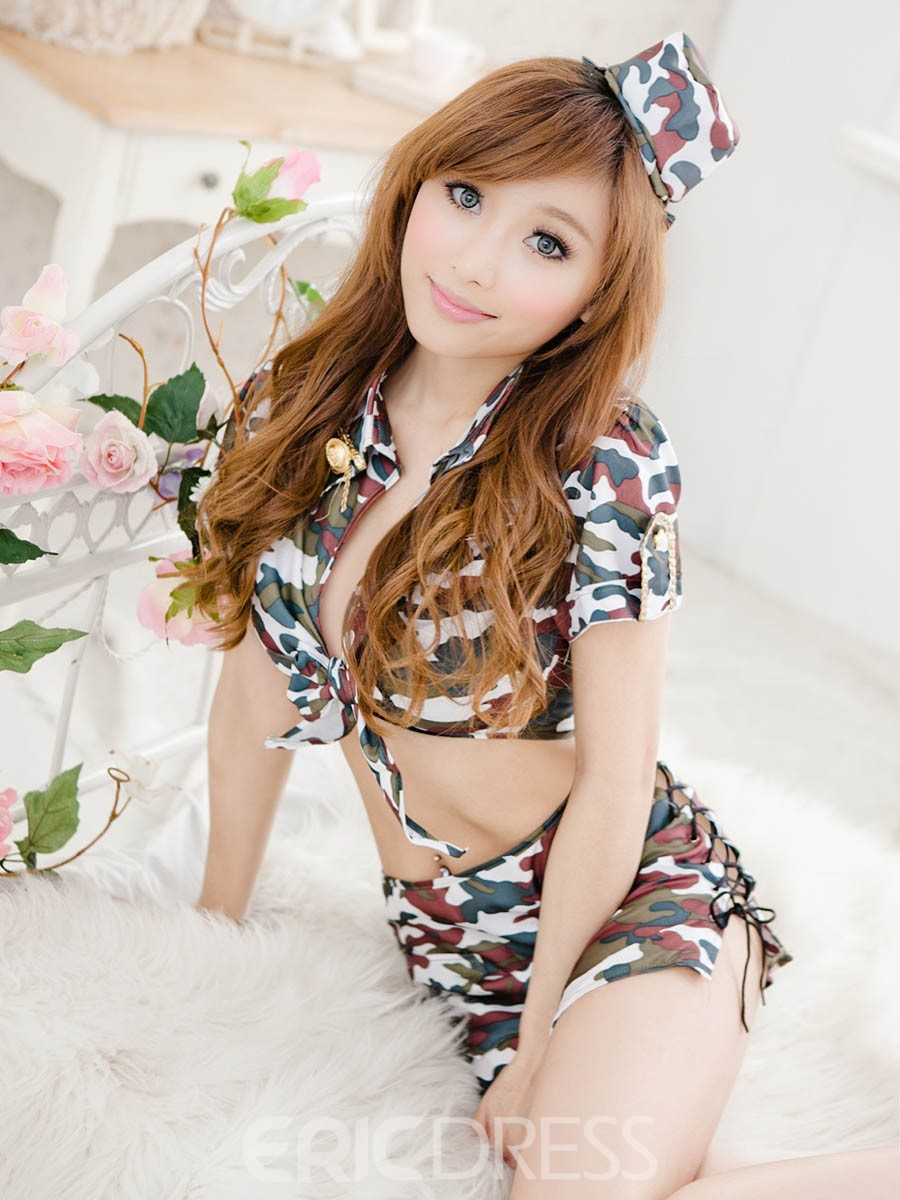 Ericdress Camouflage Sexy Police Cosplay Costume