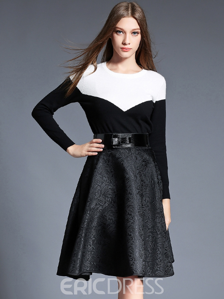 Ericdress Color Block Patchwork Round Neck Casual Dress