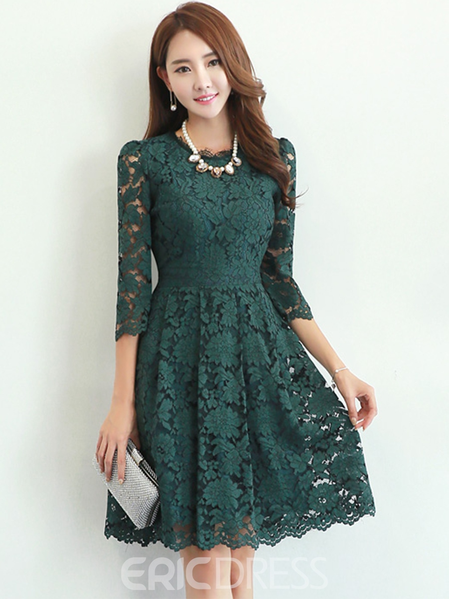 Ericdress Three-Quarter Sleeve Solid Color Round Neck Lace Dress ...