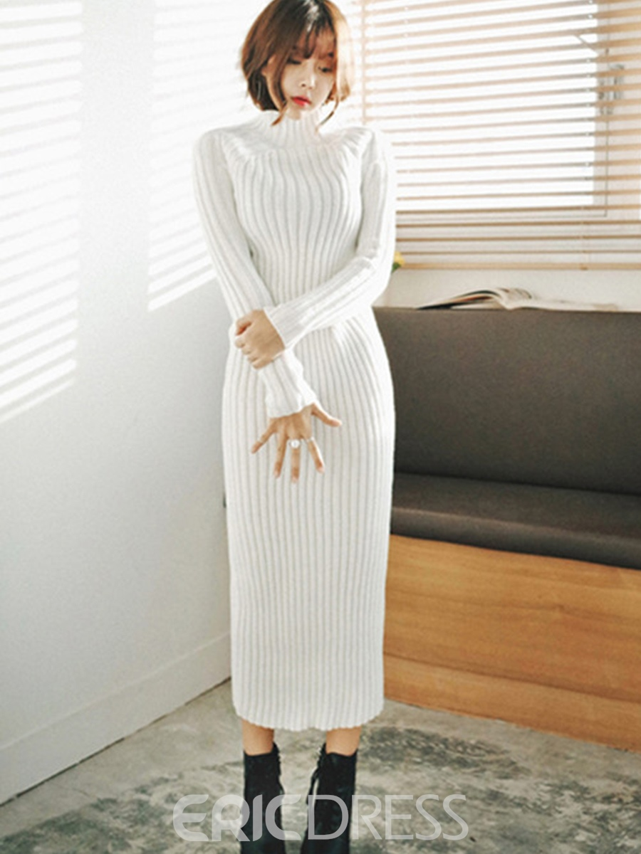 Ericdress Solid Color Knit Ankle Length Sweater Dress