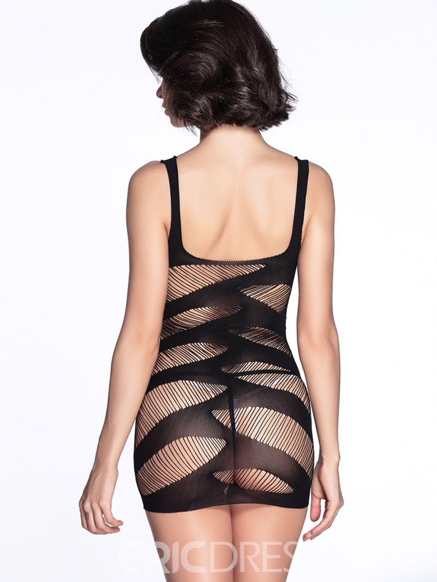 Ericdress Plain Stripe See-Through Sexy Chemise