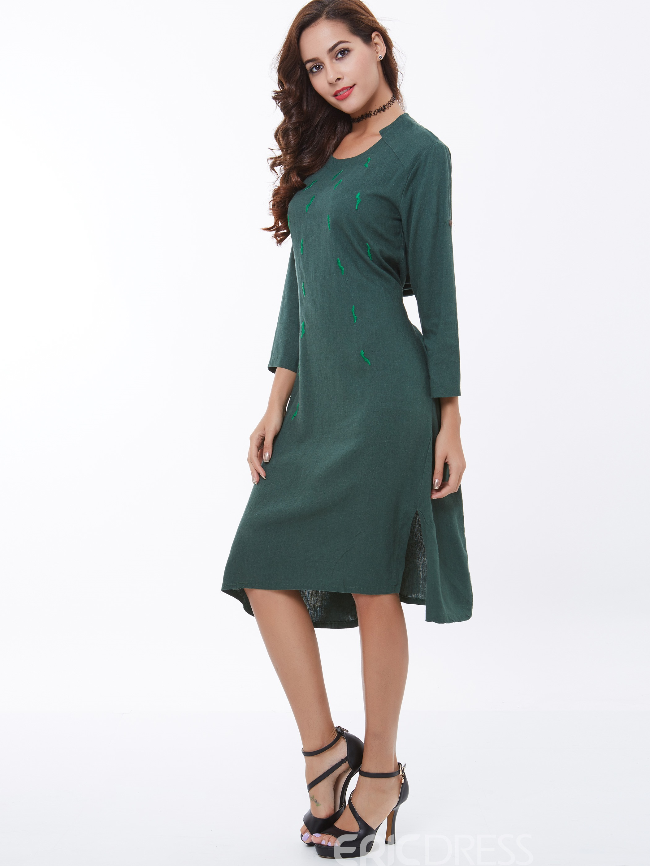 Ericdress Embroidery Loose Casual Dress