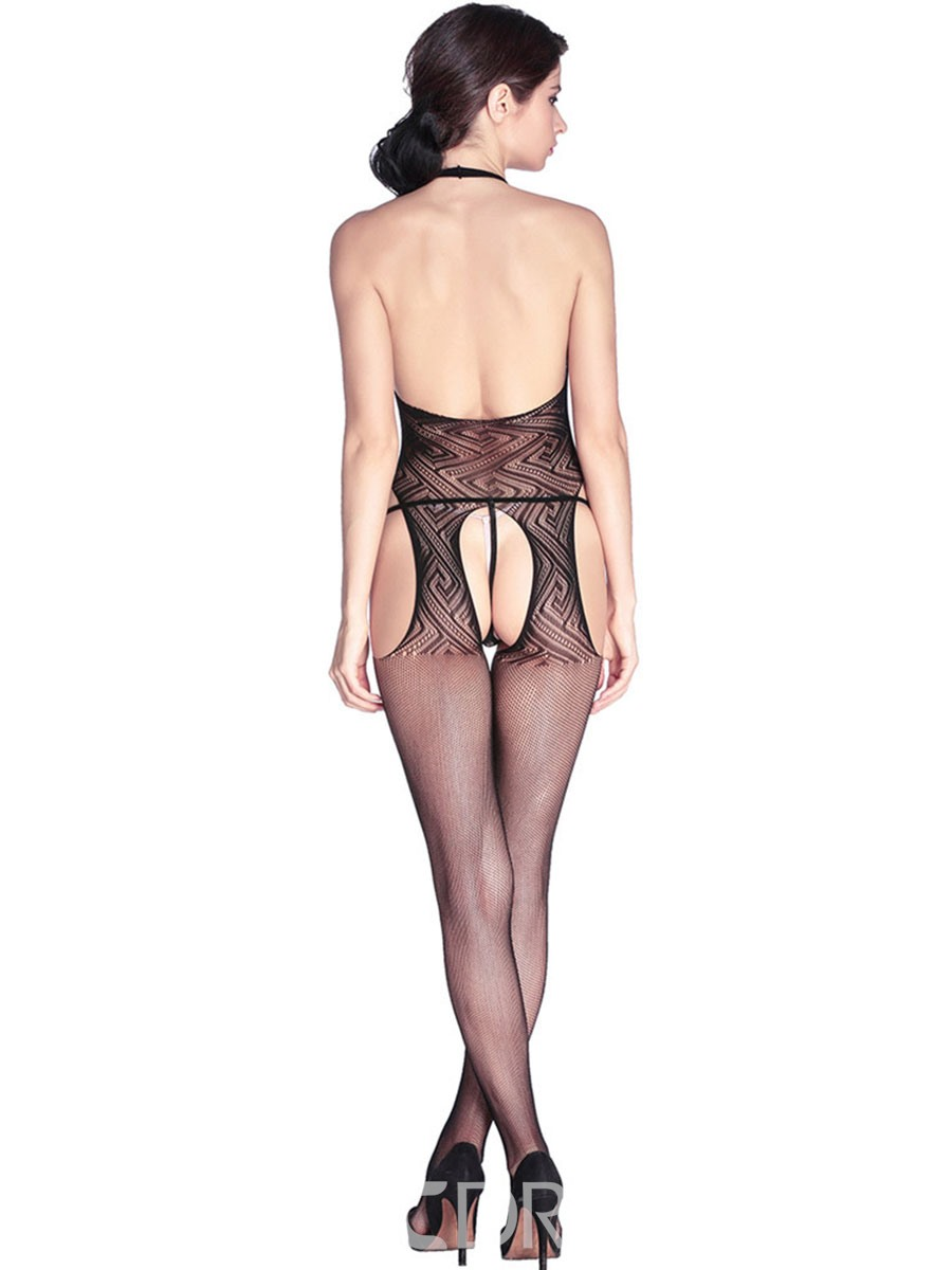 Ericdress Black Sexy Backless Hollow Pantyhose