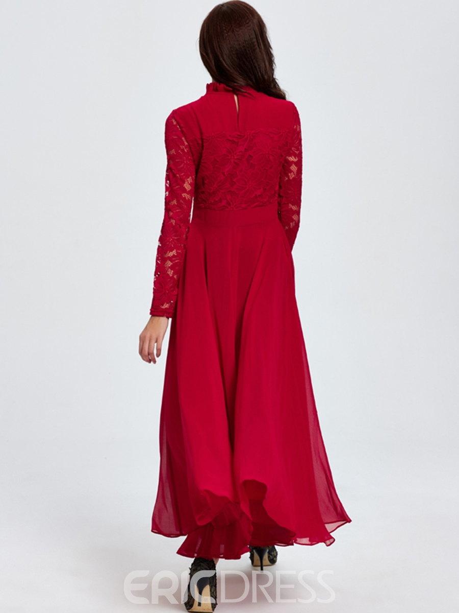 Ericdress Solid Color Lace Patchwork Expansion Long Sleeve Maxi Dress