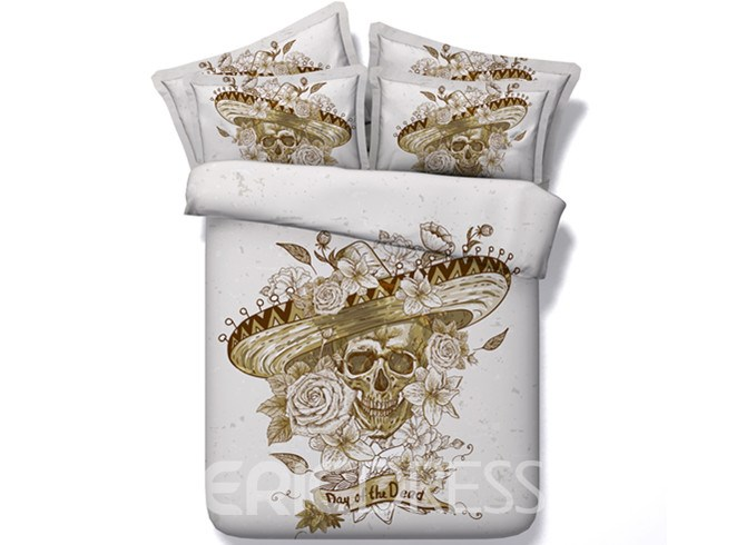 Vivilinen 3D Skull with Roses Hat Printed Retro Style Cotton 4-Piece Bedding Sets