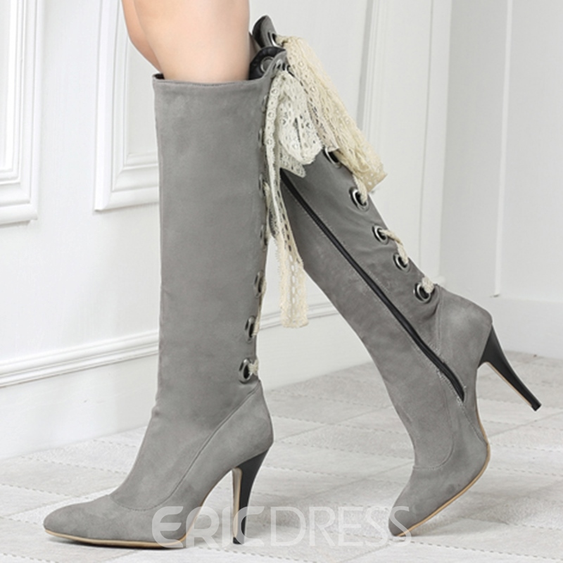 Ericdress Faux Fur Pointed Toe Knee High Boots